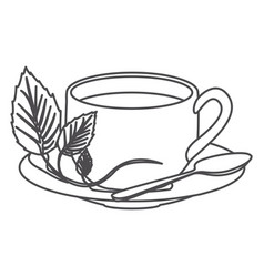 Grayscale contour of hot cup of tea vector