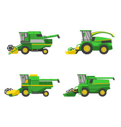 Green harvesting machine agricultural vehicles vector
