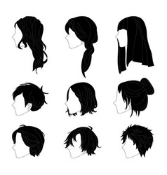 Hairstyle side view man and woman black vector