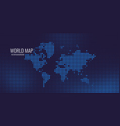 halftone background with dotted world map vector image