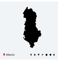 High detailed map of albania with navigation pins vector