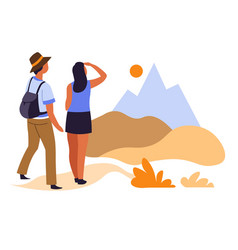 hikers couple and sunrise in mountains traveling vector image