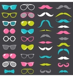 hipster mustache and glasses set vector image