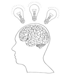 human brain with light bulb for think idea vector image