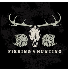 hunting and fishing vintage grunge emblem with vector image