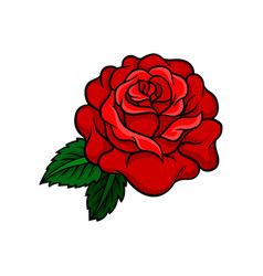 icon of bright rose bud with two green vector image