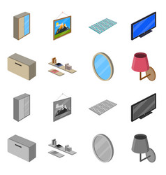 Isolated object of bedroom and room symbol vector