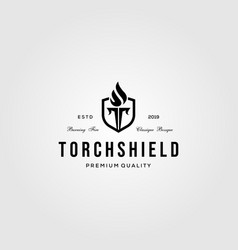 letter t torch and shield symbol logo vintage vector image