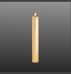 long and thin yellow candle with burning wick and vector image