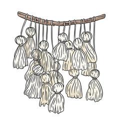 Macrame boho style image textile knotting design vector