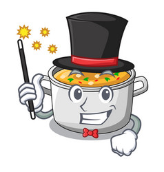 Magician cartoon homemade stew soup in the pot vector