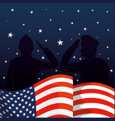 military men silhouettes with usa flag vector image