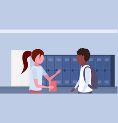 Mix race pupils couple discussing in school lobby vector