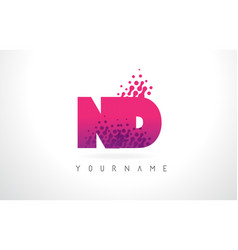 nd n d letter logo with pink purple color and vector image