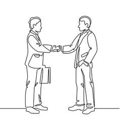 one line handshake business agreement symbol vector image