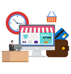 Online store buying in internet selling on site vector