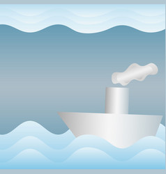 Paper boat in the paper sea wavy abstract vector