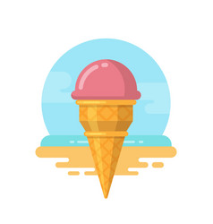 pink ice cream on the beach flat icon vector image