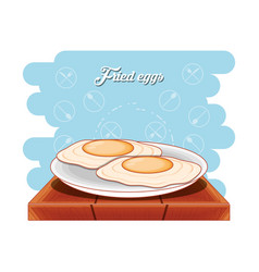 protein eggs frieds diet healthy food vector image
