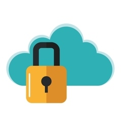 safety lock and cloud icon vector image
