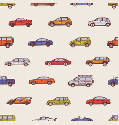 Seamless pattern with automobiles of various types vector