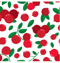 seamless pattern with cartoon cranberries vector image