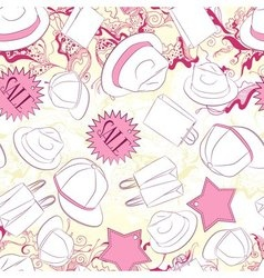 Seamless pattern with men hats and fashion vector image