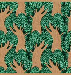 Seamless pattern with stylized old deciduous trees vector