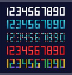 set 5 geometric font line digital effect design vector image