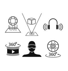 Set virtual reality game digital tech vector
