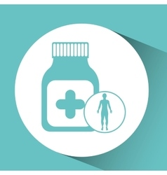 Silhouette man health bottle medicine icon vector