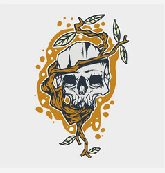 skull and tree roots vector image