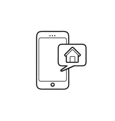 smartphone controls smart home hand drawn outline vector image