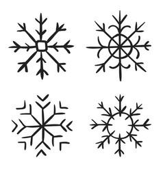 snowflake doodle graphic hand-drawn collection of vector image