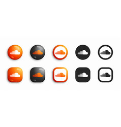 Soundcloud modern 3d and flat icons set vector