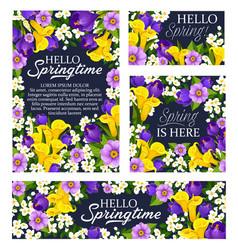 Spring season holiday flowers bloom posters vector