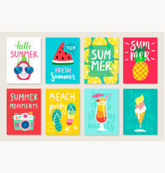 summer hand drawn calligraphyc card set vector image