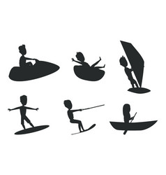 Summer sport set silhouettes vector