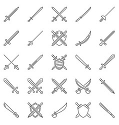 Sword outline concept icons set crossed swords vector