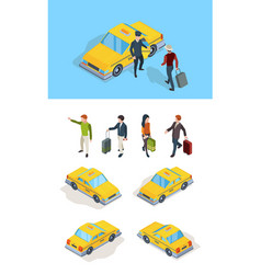 taxi service travellers passengers call taxi with vector image