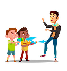two bully kids splashing into man from water vector image