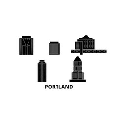 United states portland city flat travel skyline vector