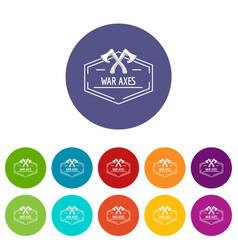 war axe icons set color vector image