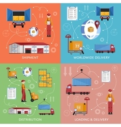 Warehouse process infographics four banners vector image