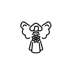 web line icon angel with flower black on white vector image