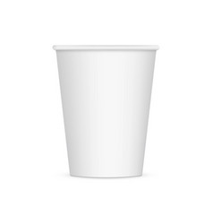 white disposable paper cup mockup isolated vector image