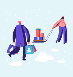 winter holidays shopping and preparation for vector image