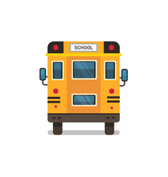yellow school bus rear view pupils transport vector image