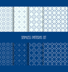 dotted oriental forms seamless pattern set vector image