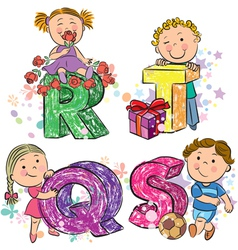 Funny alphabet with kids RQST vector image vector image
